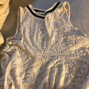 Free people lace peplum top with open back